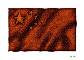 China Flag Red Sparks on Dark Background Star
