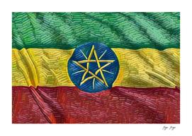 Ethiopia Flag Long Bricks Pieces Stars Stamp Mountain