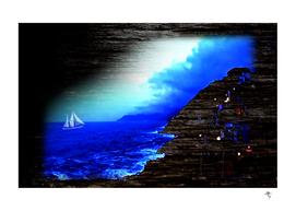 sailboat, aspires from the shore, blue, light, dark