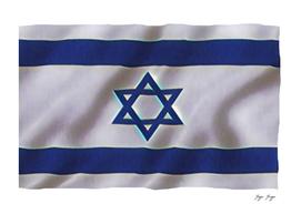 Israel Flag Futuristic Blue Shader General Five Star