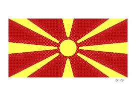 Macedonia Flag Sun Rays Japan Like Dotted Style