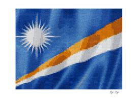 Marshall Islands Flag Raw Feathered Fabric Origin Exp
