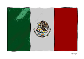 Mexico Flag Stamp Mark Tricolr Bird Reflective Surfac