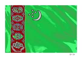 Turkmenistan Flag Five Stars Moon Band Left Red