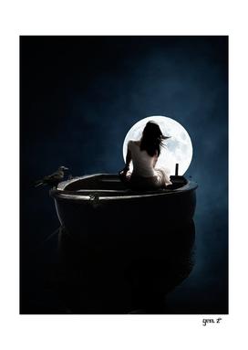 Girl boat full moon