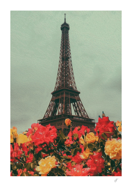Vintage Paris postcard with red and yellow roses.