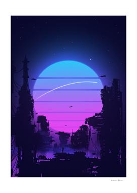 Cyberpunk City Sunset