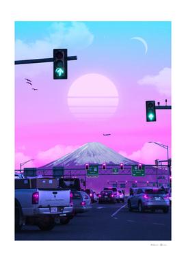 Vaporwave traffic Sunset