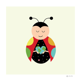 Sweet Ladybug in the Star Galaxy