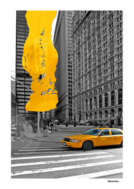 NYC Yellow Cabs - Trinity Place - Brush Stroke