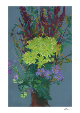 Yellow Chrysanthemum, Autumn Flowers, Floral Painting