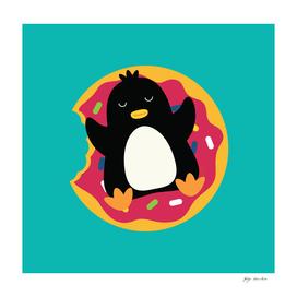 The penguin swims