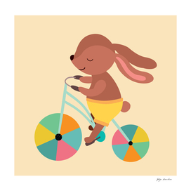 A rabbit rides a bicycle