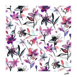 Purple ink flowers