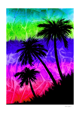Surreal Palm Trees Silhouettes