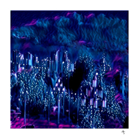 Elven city, sleeping soundly, purple-lilac night, city,