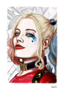 Harley Quinn - Ink & Digital Portrait