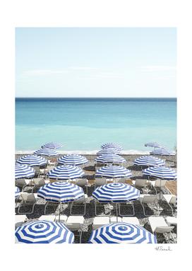 Blue Beach Umbrellas In Nice   France Travel Photography