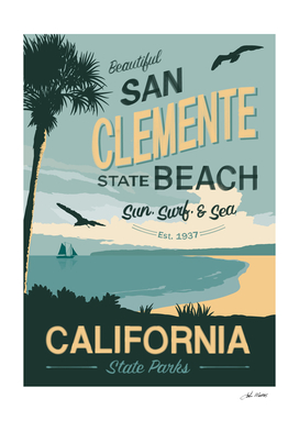 San Clemente Beach Travel Poster