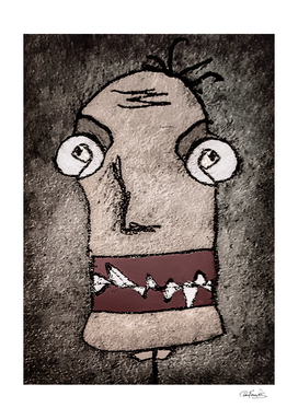 Sketchy Style Head Creepy Mask Drawing