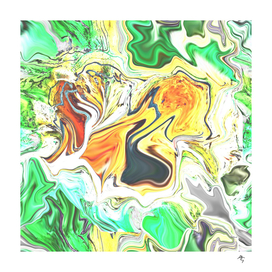 wonderful abstract print, yellow, orange green gray,