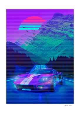 Car Classic Retro Neon  Montain  2077