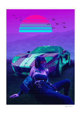 Car Classic Synthwave Retro  Montain  2077