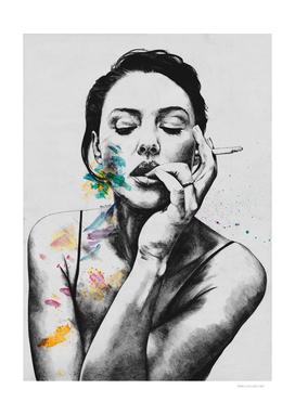 Monica Bellucci sexy portrait | smoking woman drawing