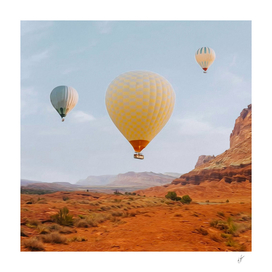 Hot air balloons over the Texas desert.
