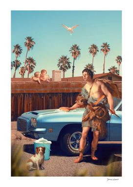 Adonis Washing His Car