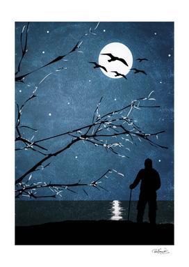Full Moon Landscape Scene Illustration