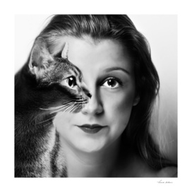 woman cat black and white