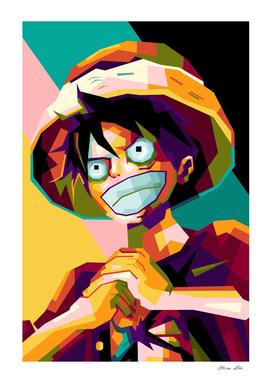Luffy one piece in popart