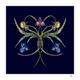 60irises made of jewels, on a blueberry-black background,