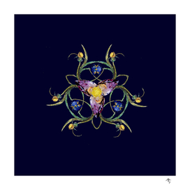 irises made of jewels, on a blueberry-black background