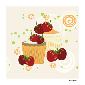 Summer Strawberries And Cupcakes Art