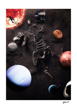 Dinosaur Skeleton and Planets