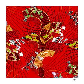 fan dance , red, black, asia, spain