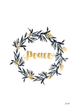 Peace, festive wreath, holiday decor