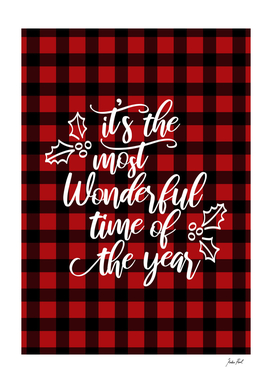 Wonderful time of the year, gingham, red and black pattern