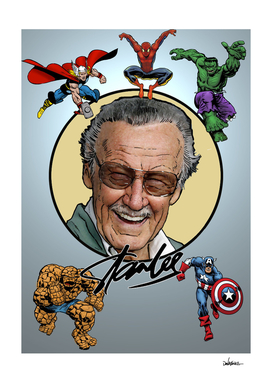 Marvel Legend Stan Lee surrounded by his Super-heroes