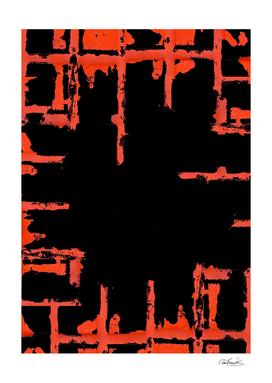 Red And Black Abstract Grunge Print