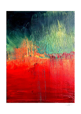 Red and Green Abstract, Oil on Canvas
