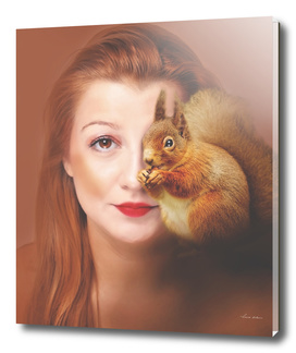 woman and red squirrel