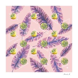 Banana leaf and lemons