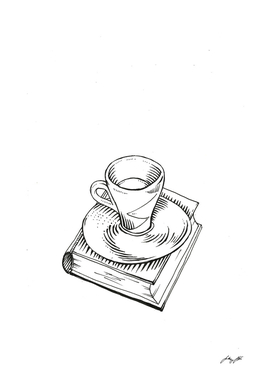 BW coffee and book