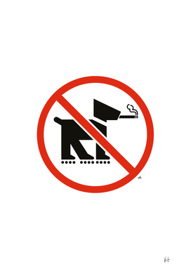 No smoking dogs on rollerblades