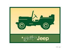Vintage Green Jeep Print