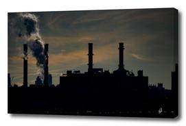 New York City Power Station Sunset