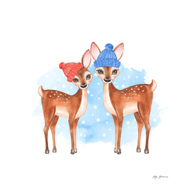 Fawns. Winter
